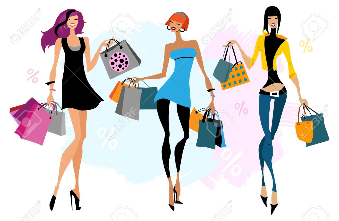 17622559 Three women with shopping bags illustration Isolated Stock Vector mini